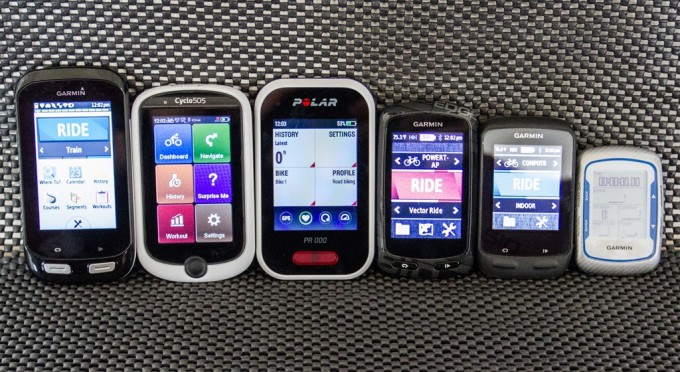 (Left to right sizing: Edge 1000, Mio Cyclo 505, Polar V650, Edge 800/810/Touring, Edge 510, Edge 500/200)